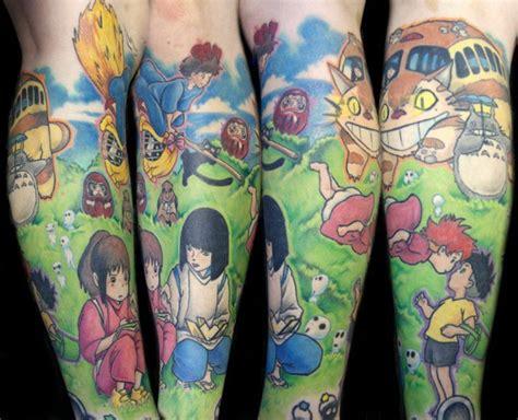 hayao miyazaki tattoo kamakazi ink half leg sleeve by steve sklepic with
