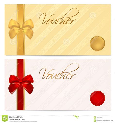 free gift card design template voucher gift certificate coupon template bow stock