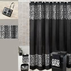 black mosaic fabric shower curtain