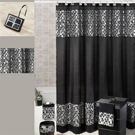 Black Shower Curtains Black Mosaic Fabric Shower Curtain