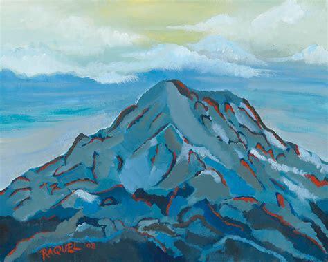 painting montana mount rainier painting blue mountain print volcano painting