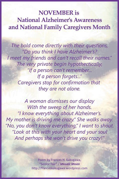 caretakers poem brain cancer awareness alzheimer s awareness month watermark publishing
