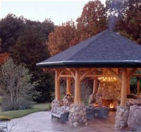 fire pit gazebo  stone  tree accents