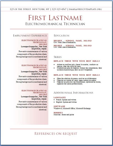Resume Templates Free Cv Templates 36 To 42 Free Cv Template Dot Org