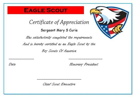 eagle scout certificate template 50 professional free certificate of appreciation