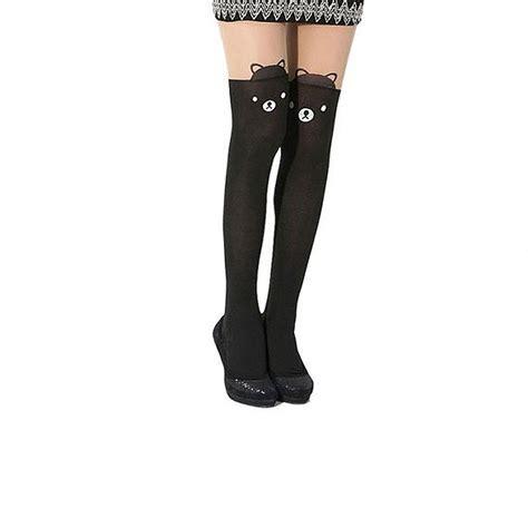 cute stockings womens girls cute japanese black heart stockings over knee