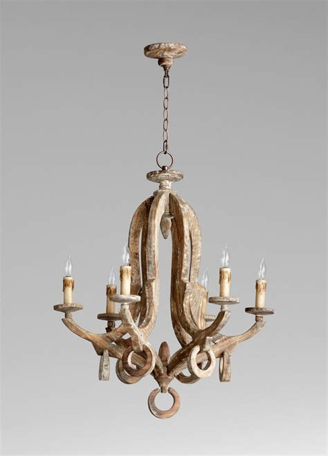Chandeliers Wood Galleon 6 Light White Wood Chandelier By Cyan Design