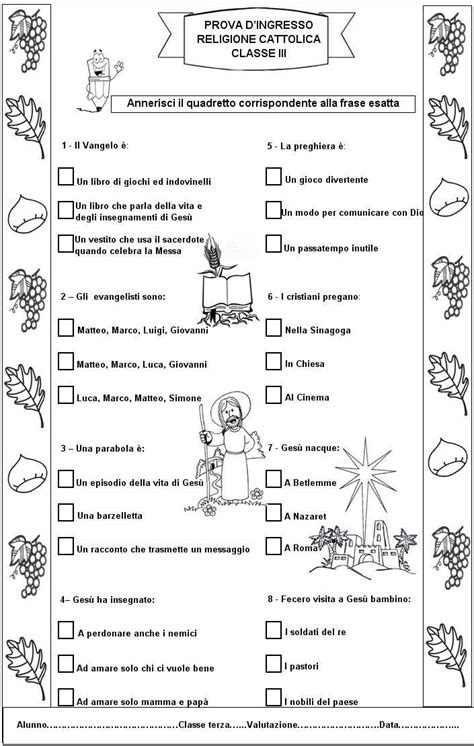 prove d ingresso religione cattolica scuola primaria prova di ingresso di religione cattolica per la classe