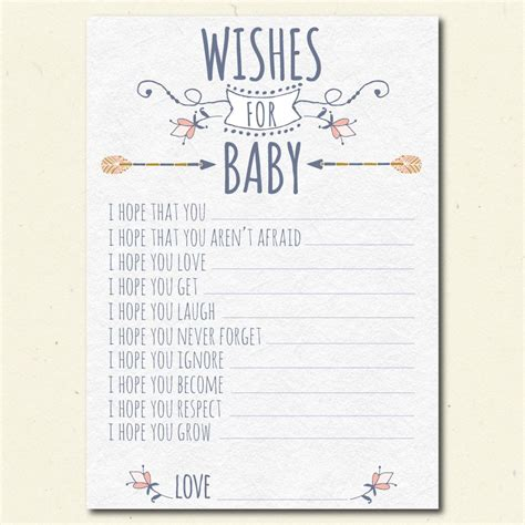 Baby Shower Wishes For Baby Boy by Tribal Wishes For Baby Shower Printable Boho Baby
