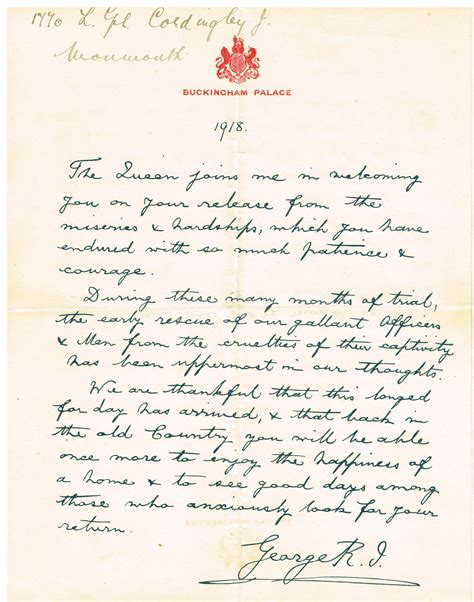 Letter Written File Written Letter Of Recognition For World War 1 Pow From King George V 1918 Sent To