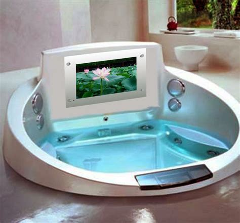 bathroom tv ideas bathtub with tv and jacuzzi fits two people romantic
