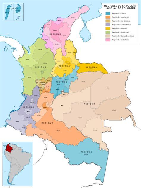 imagenes satelitales de colombia file mapa de colombia regiones de la policia nacional