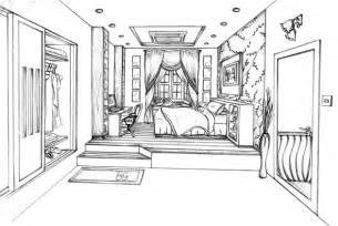 online room sketch one point perspective living room drawing www imgarcade
