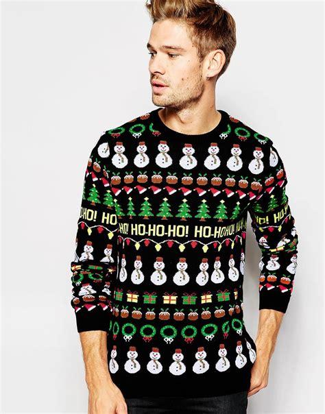 black pattern christmas jumper asos christmas jumper with ho ho ho pattern in black for