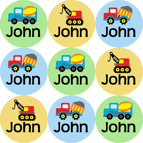 Aufkleber Kindernamen by Construction Trucks Round Personalized Name Labels Baby