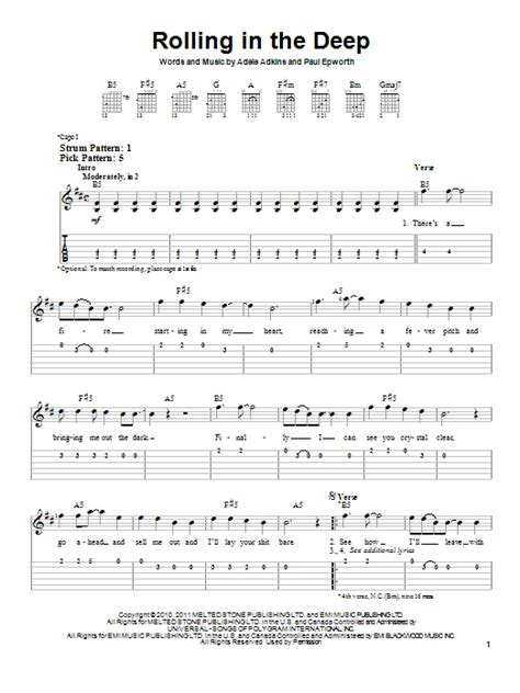 printable lyrics rolling in the deep rolling in the deep sheet music by adele easy guitar tab
