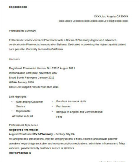 Registered Pharmacist by 10 Pharmacist Resume Templates Pdf Doc Free