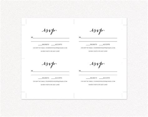 Wedding Rsvp Card Template Diy Wedding Templates And Printables Rsvp Card Template 6 Per Page