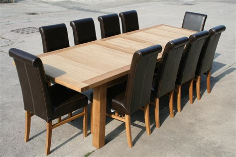 Dining Table And Leather Chairs Large Oak Dining Table 2 8m 3 8m Ebay