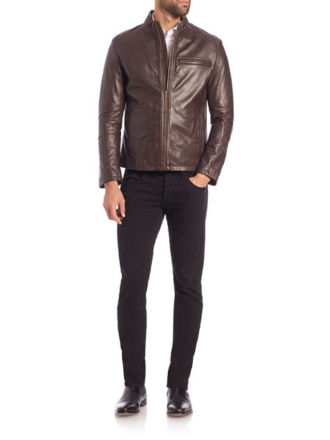 cole haan brown leather jacket cole haan leather moto jacket in brown for lyst