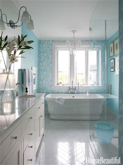 light blue and white bathroom