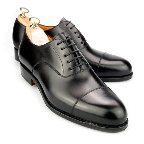 black oxford shoe lace up oxfords toe cap shoes in black calf carmina
