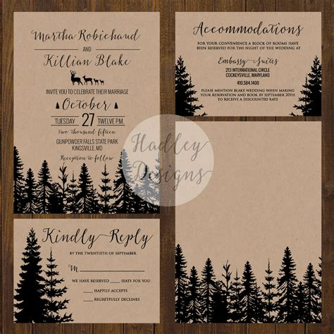 wedding invitation customize free hadley designs rustic