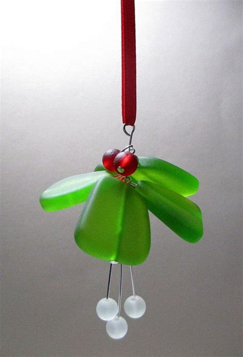 mistletoe ornament sea glass ornament christmas