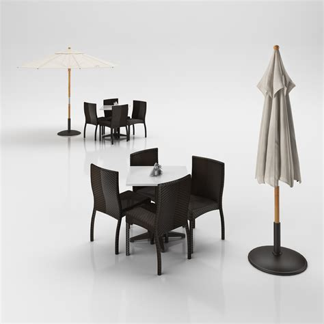 Umbrella Maxy By Galery Chory rattan chairs set with table and outdoor umbrella d model