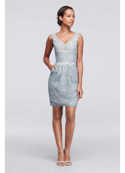 lace short dress cocktail shopstyle short lace dress with beaded v neck david s bridal