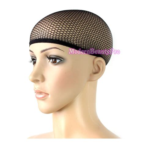 black womans hair cap cool mesh stretch fabric breathable liner wig cap black
