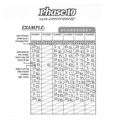 printable phase 10 dice score sheet sle phase 10 score sheet 5 free documents in pdf