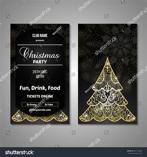 flyer cards template set stylized tree invitation flyer stock vector