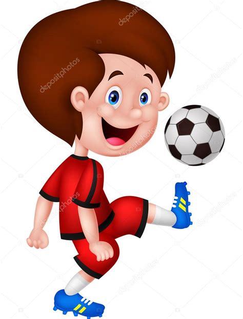 imagenes de niños jugando futbol animados ni 241 o de dibujos animados jugando al f 250 tbol vector de
