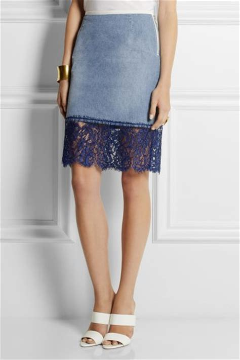 sacai luck denim and lace pencil skirt in blue lyst