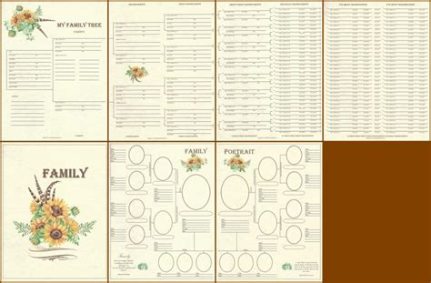 scrapbook layout family tree family 4 page panoramic genealogy chart layout