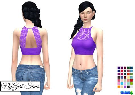 lace shirt the sims 4 sims 4 cc s the best athletic lace crop top by nygirl