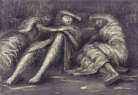 Figure Sleeping three figures sleeping or shelterers sleeping in the