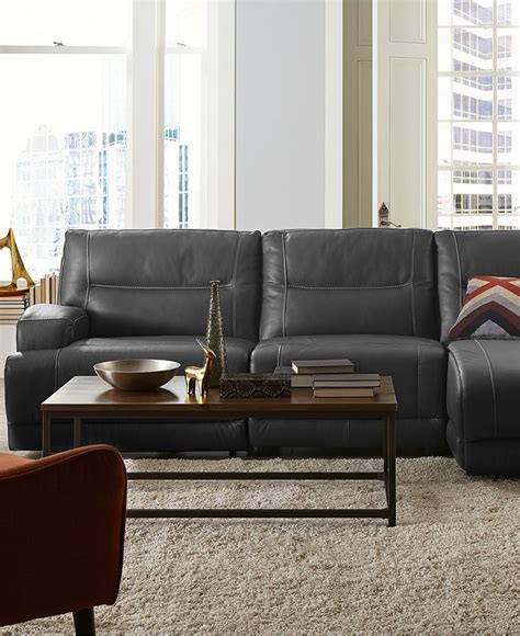 macys living room furniture caruso leather power motion sectional sofa living room