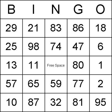 printable numbers bingo free printable bridal bingo cards