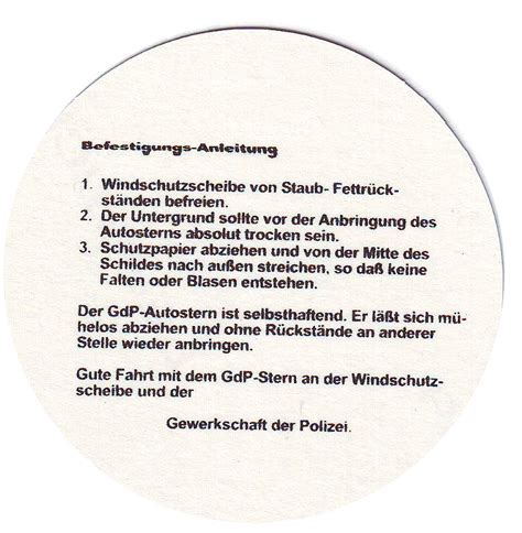 Aufkleber Von Der Windschutzscheibe Entfernen by Aufkleber Gdp Gewerkschaft Der Polizei Polizeistern