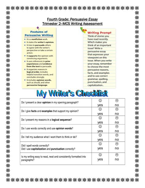 Essay Topics For Grade 5 by Opinion Writing Prompts For Third Graders Common Graphic Organizer Vacation Or School