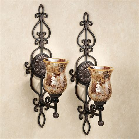 Mosaic Sconces leyanna mosaic aged brown wall sconce pair