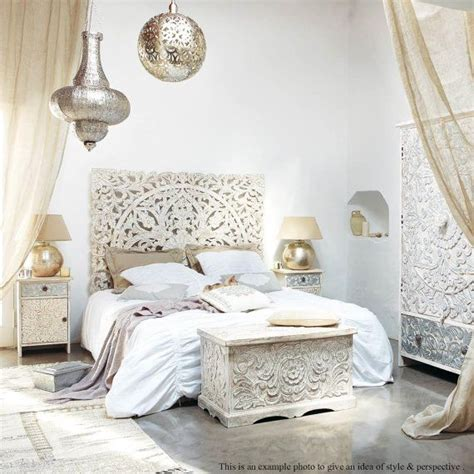 White Carved Bedroom Furniture by White Wash Carved Wooden Bed Headboard By