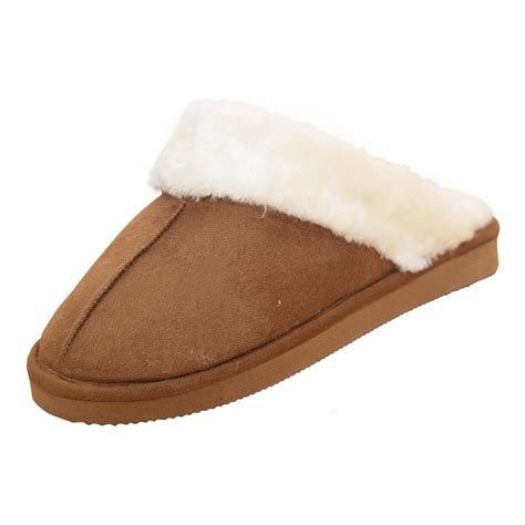 fur lined slippers dunlop faux suede fur lined cosy slip on slipper
