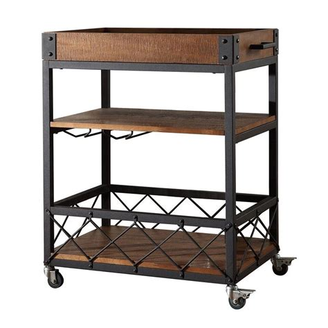 bar carts ashburne espresso rustic bar cart homehills bar carts bars