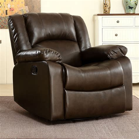 Leather Swivel Chair Recliner - bonded faux leather rocker and swivel recliner chair