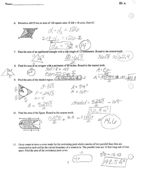 Chapter 11 Section Quiz Holt Geometry by Geometry Chapter 11 Test 2 Answer Key