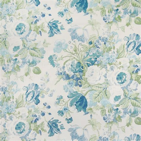 Blue Floral Upholstery Fabric by Bluebell Blue And Green Floral Linen Upholstery Fabric