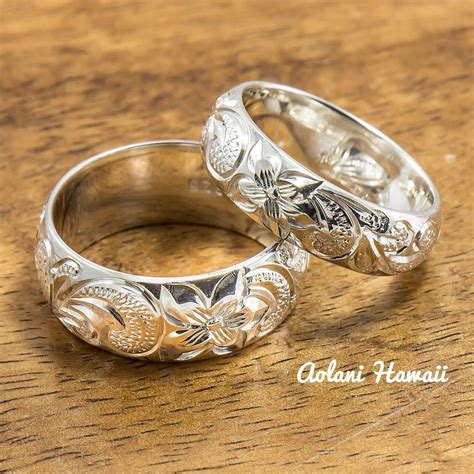 Engraved Wedding Rings by Silver Wedding Ring Set Of Traditional Hawaiian